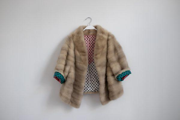 chaqueta de visón rubio