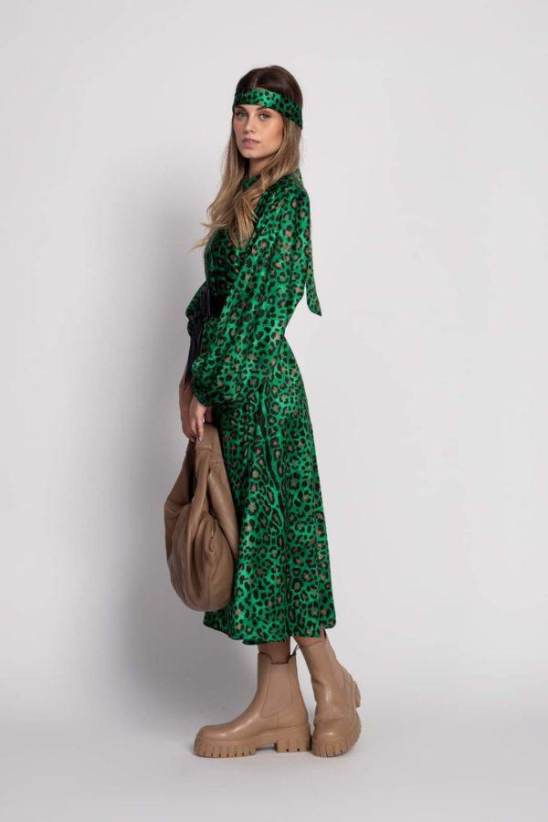 Vestido green print